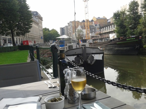 Cold glass of wine in Ghent